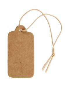 Gift Tags, size 15x30 mm, light brown, 100 pc/ 1 pack