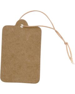 Gift Tags, size 25x40 mm, light brown, 100 pc/ 1 pack