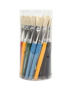 Kids Paint Brushes, flat, L: 19 cm, W: 15 mm, 30 pc/ 1 pack