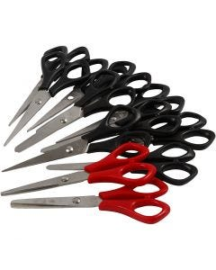 School Scissors, L: 14 cm, Both Left and Right, black, red, 12 pc/ 1 pack