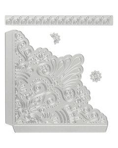 Die Cut and Embossing Folder, decorative coners, size 14,5x1,5 cm, 1 pc