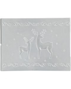 Embossing Folder, reindeer, D: 11x14 cm, thickness 2 mm, 1 pc