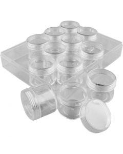 Storage Containers, H: 30 mm, D: 35 mm, 20 ml, 12 pc/ 1 set