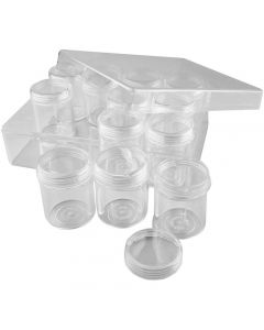 Storage Containers, H: 47 mm, D: 37 mm, 35 ml, 12 pc/ 1 set