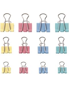 Foldback Clips, W: 15-19-25 mm, pastel colours, 30 asstd./ 1 pack