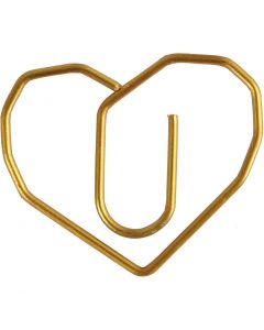 Metal Paperclips, heart, size 30x20 mm, gold, 6 pc/ 1 pack