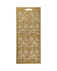 Stickers, deer, 10x23 cm, gold, 1 sheet