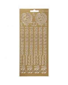 Stickers, jubilee numbers, 10x23 cm, gold, 1 sheet