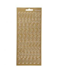 Stickers, numbers, 10x23 cm, gold, 1 sheet