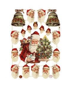 Vintage Die-Cuts, santa and bells, 16,5x23,5 cm, 3 sheet/ 1 pack