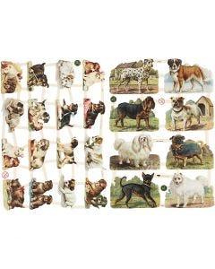 Vintage Die-Cuts, cani, 16,5x23,5 cm, 2 sheet/ 1 pack