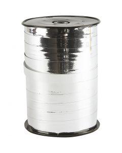 Curling Ribbon, W: 10 mm, glossy, metallic silver, 250 m/ 1 roll