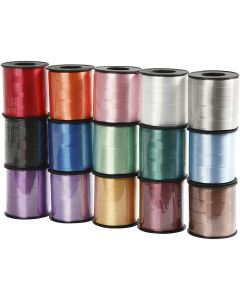 Curling Ribbon, W: 10 mm, glossy, assorted colours, 15x50 m/ 1 pack