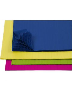 Honeycomb paper, 28x17,8 cm, assorted colours, 4x2 sheet/ 1 pack