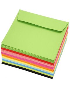 Coloured Envelopes, envelope size 16x16 cm, 80 g, assorted colours, 10x10 pc/ 1 pack