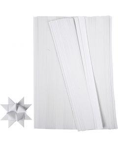 Paper Star Strips, L: 45 cm, W: 10 mm, D: 4,5 cm, white, 500 strips/ 1 pack