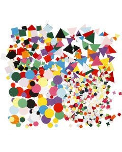 Card Mosaics, size 10+15+20 mm, assorted colours, 8x180 pack/ 1 pack