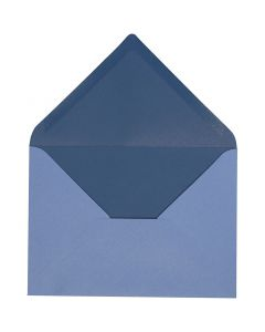 Envelope, envelope size 11,5x16 cm, 100 g, light blue/dark blue, 10 pc/ 1 pack