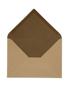 Envelope, envelope size 11,5x16 cm, 100 g, sand/brown, 10 pc/ 1 pack