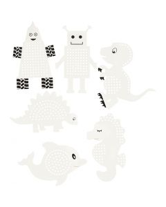 Embroidery card, H: 8-13 cm, 230 g, white, 6x3 pc/ 1 pack