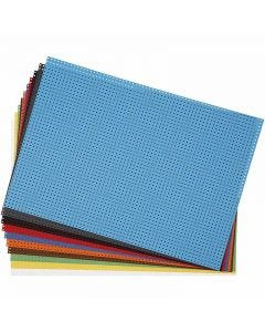Cross Stitch Card, 3x3 holes per. cm, 300 g, assorted colours, 10 ass sheets/ 1 pack