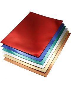 Metallic Foil Card, A4, 210x297 mm, 280 g, assorted colours, 30 ass sheets/ 1 pack