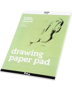 Drawing Paper Pad, A4, 210x297 mm, 120 g, white, 30 sheet/ 1 pc