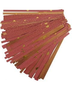 Paper Star Strips, L: 44+78 cm, D: 6,5+11,5 cm, W: 15+25 mm, gold, red, 48 strips/ 1 pack
