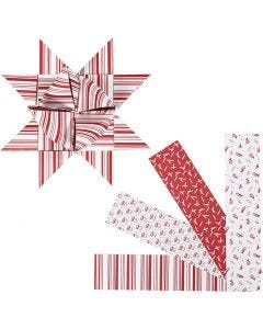 Paper Star Strips, L: 100 cm, D: 18 cm, W: 40 mm, red, white, 40 strips/ 1 pack