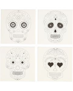 Stretched Canvas With Print, skulls, size 20x20 cm, 280 g, white, 4 pc/ 1 pack