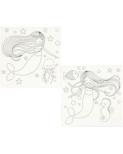 Stretched Canvas With Print, mermaids, size 20x20 cm, 280 g, white, 2 pc/ 1 pack