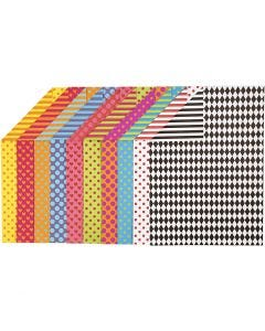 Patterned Card, A4, 210x297 mm, 250 g, assorted colours, 20 ass sheets/ 1 pack