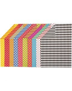 Patterned Card, A4, 210x297 mm, 250 g, assorted colours, 200 ass sheets/ 1 pack