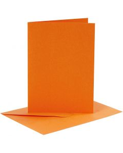 Cards and Envelopes, card size 10,5x15 cm, envelope size 11,5x16,5 cm, 110+220 g, orange, 6 set/ 1 pack