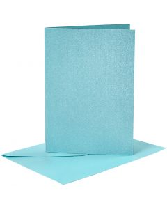 Cards and Envelopes, card size 10,5x15 cm, envelope size 11,5x16,5 cm, mother of pearl, 120+210 g, blue, 4 set/ 1 pack