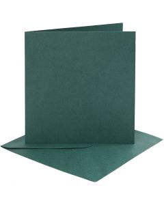 Cards and envelopes, card size 15,2x15,2 cm, envelope size 16x16 cm, 230 g, dark green, 4 set/ 1 pack