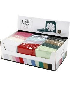 Cards and envelopes, card size 15,2x15,2 cm, envelope size 16x16 cm, 230 g, assorted colours, 12x10 pack/ 1 pack