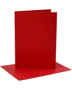 Cards and envelopes, card size 12,7x17,8 cm, envelope size 13,3x18,5 cm, 230 g, red, 4 set/ 1 pack