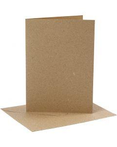 Cards and envelopes, card size 12,7x17,8 cm, envelope size 13,3x18,5 cm, 230 g, natural, 4 set/ 1 pack