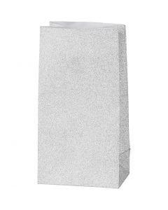 Paper Bag, H: 17 cm, size 6x9 cm, 120 g, silver, 8 pc/ 1 pack