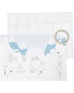 Christmas Calendar, size 30x42 cm, white, 3 pc/ 1 pack