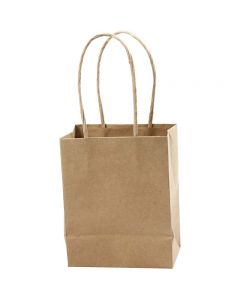 Paper Bag, H: 17 cm, W: 12x7 cm, 125 g, brown, 10 pc/ 1 pack