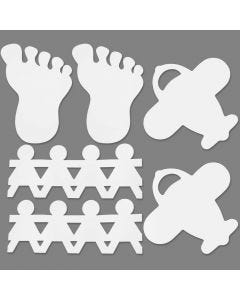 Punched-Out Figures, size 12-27 cm, white, 96 pc/ 1 pack