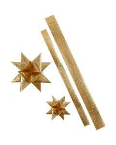 Star Strips, L: 86+100 cm, D: 11,5+18,5 cm, W: 25+40 mm, gold glitter, 16 strips/ 1 pack