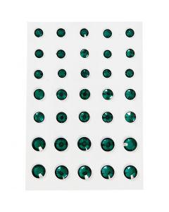 Rhinestones, round cone, size 6+8+10 mm, green, 35 pc/ 1 pack