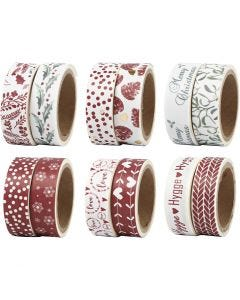 Washi Tape, W: 15 mm, 6x12 pack/ 1 pack
