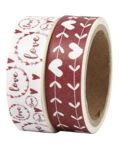 Washi Tape, love and hearts, W: 15 mm, 2x5 m/ 1 pack