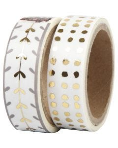 Washi Tape, hearts and dots - foil, W: 15 mm, gold, white, 2x4 m/ 1 pack