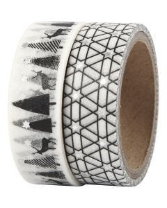Washi Tape, deer and pattern - foil, W: 15 mm, 2x4 m/ 1 pack