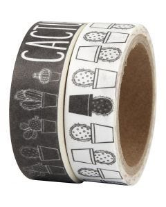 Washi Tape, cactus, W: 15 mm, 2x5 m/ 1 pack